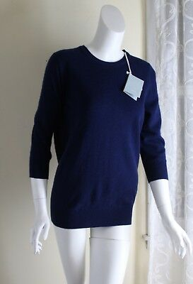 NWT MALO of Italy -Sz 42 M L YUMMY Navy 100% Cashmere Long Tunic 3/4 Sweater