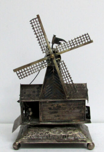INCREDIBLE MINIATURE DUTCH EXPORT SILVER ANTIQUE WINDMILL HOUSE WITH PEOPLE