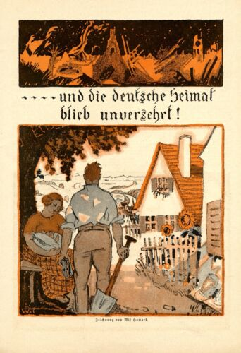 German homeland remained intact XL 1918 art print by Wil Howard WW 1