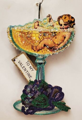 CUPID BABY in CHAMPAGNE GLASS, BUBBLY * Glitter VALENTINE ORNAMENT * Vtg Img