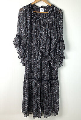 MISA Floral Dress Long Boho Long Sleeve Black Womens Size Large