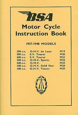 BSA Book M20 M21 M22 M23 M24 M33 Gold Star 1937-1948 Reprinted Motorcycle Manual