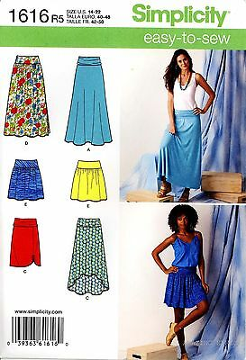 Simplicity Sewing Pattern 1616 Women's easy to sew Skirts 14-22 misses'