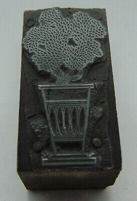 Vintage Printing Letterpress Printers Block Bush Plant In Pot Vase