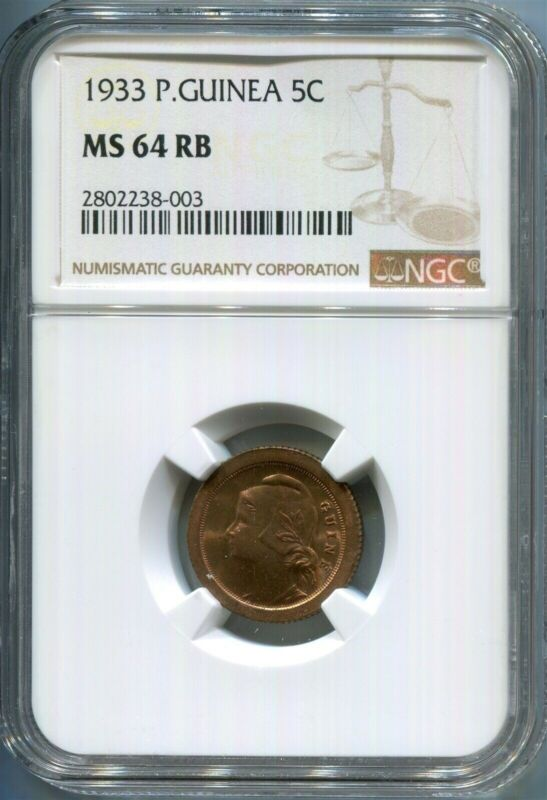 Guinea-Bissau - 1933 5c KM#1 in NGC MS 64 RB