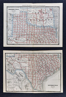 1886 Banker Attorney Map by Cram  North & South Texas Indiana Territory Oklahoma