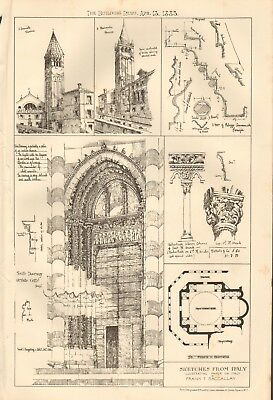 1883 ANTIQUE ARCHITECTURE, DESIGN PRINT- SKETCHES FROM ITALY