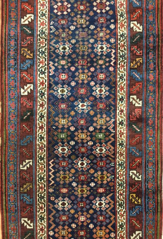 Tremendous Tribal - 1900s Antique Kurdish Runner - Oriental Rug - 3.6 X 14.7 Ft.