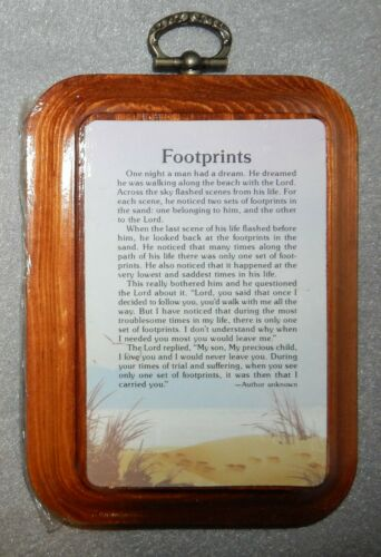 """Footprints in The Sand - Inspirational on Wood Plaque 5"""" x 3 3/8"""" - New"""