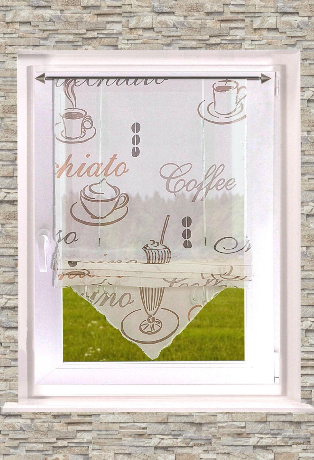 """bedrucktes RAFFROLLO """"KAFFEE""""  transparent creme Küchengardine 45/ 60 / 80x140cm"""