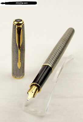 Old Parker Cartridges Fountain Pen Sonnet Sterling Silver with 18 C. Italic nib