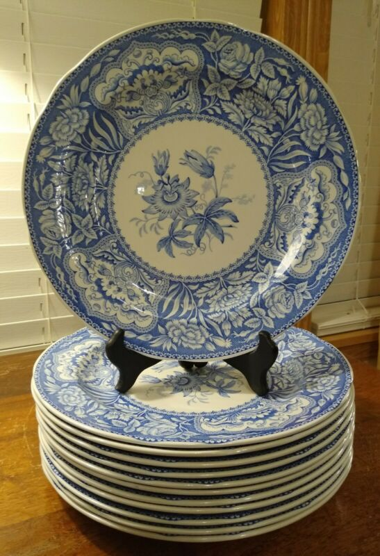 """12 The Spode Blue Room Collection Floral 10 1/4"""" Dinner Plates Sold Individually"""