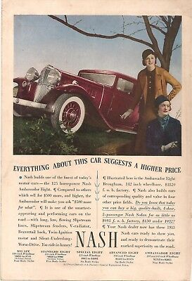 1933 NASH AMBASSADOR EIGHT BROUGHAM COLOR AD