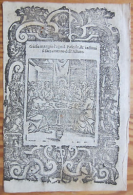 Post Incunable Leaf Rosario Woodcut Last Supper Venice - 1521