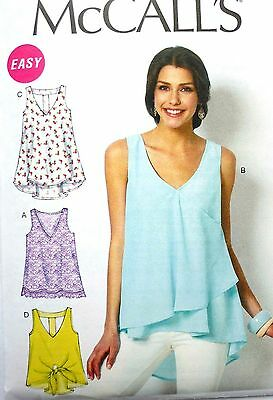 M6960 McCall's Sewing Pattern EASY Misses 4-26 Pullover Tank or T-Back Top Tunic - Easy Adult Crafts
