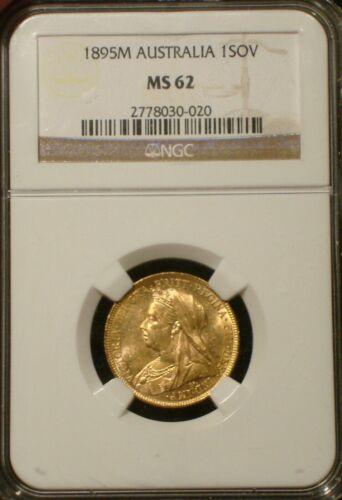 1895 M AUSTRALIA Queen Victoria Gold Sovereign * NGC MS 62 * Veiled Head