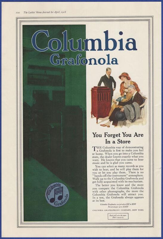 Vintage 1918 COLUMBIA Grafonola Phonograph Ephemera Print Ad