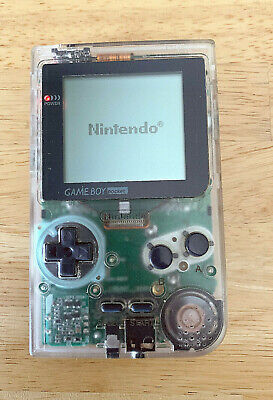 NINTENDO GAME BOY POCKET CONSOLE CLEAR TRANSPARENT GAMEBOY SYSTEM TESTED RARE.