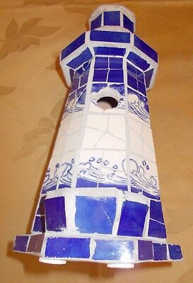 NWT Pacific Rim Cobalt and White  Mosaic Lighthouse Bird Feeder/House