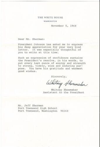 1968 Signed Letter From Personal Secretary of PRESIDENT JOHNSON - MINT!!!