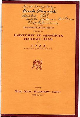 Bronko Nagurski Signed 1929 Minnesota Gophers Football Banquet Program RARE