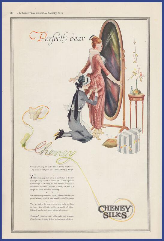Vintage 1918 CHENEY Silks Fabric Foulards Fashion Ephemera Print Ad