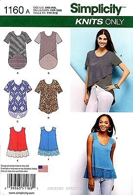 Simplicity Sewing Pattern 1160 Women's XXS-XXL knit Tops Tunics