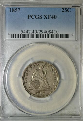 1857 Seated quarter, PCGS XF40