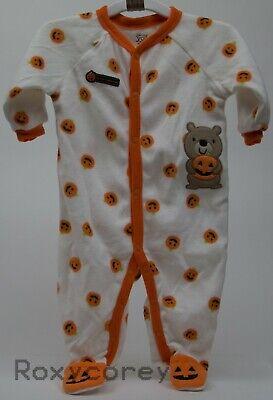 Baby Halloween Sleepers (Halloween Infant Carter's Ivory Orange Fleece Sleeper Size 6 months 12-16)