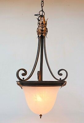 Pendant Light Fixture with Aged Dome Frosted Glass Shade Brass Leaves