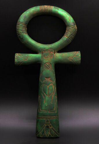 RARE EGYPTIAN ANTIQUES EGYPT ANKH KEY OF LIFE SCARAB STATUE Carved STONE BC