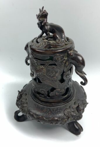ANTIQUE CHINESE CHINA QING BRONZE CENSER INCENSE BURNER DRAGON FINIAL 19 TH