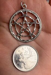 New real sterling silver 925 Celtic Wicca runic pentagram charm