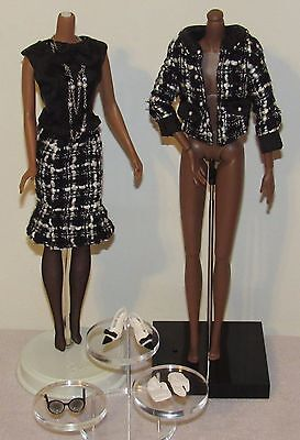 Boucle Beauty Silkstone Barbie Complete Fashion Outfit Black Tweed Suit No Doll
