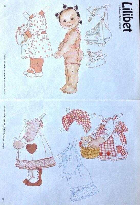 """Little Girl Named """"Lilibet"""" Paper Doll, 1991 Doll Reader Magazine"""