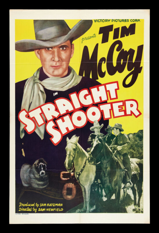 STRAIGHT SHOOTER CineMasterpieces WESTERN COWBOY GUN ORIGINAL MOVIE POSTER 1939