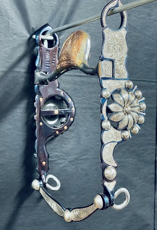 Pristine Fleming Silver Hand Engraved Bit With Beaded And Floral Accents