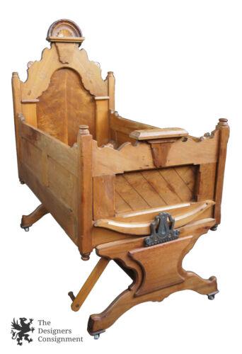 1880s Ornate Victorian Rocking Cradle Carved Walnut Knockdown Rocker Baby Bed