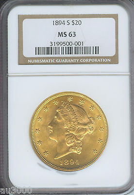 1894 S $20 LIBERTY DOUBLE EAGLE NGC MS63 GRADED MS 63 BETTER DATE
