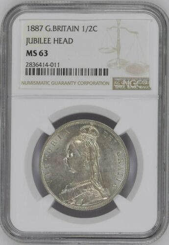 1887 Great Britain Jubliee Head Half Crown NGC MS63 high value Cert# 2836414-011