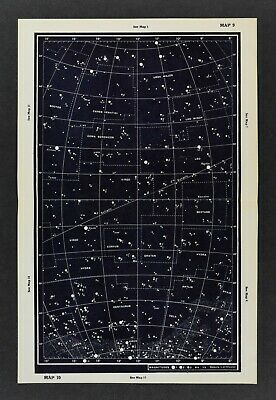1961 Gall & Inglis Star Map Equator Ecliptic Ursa Major Leo Virgo Crater Corvus