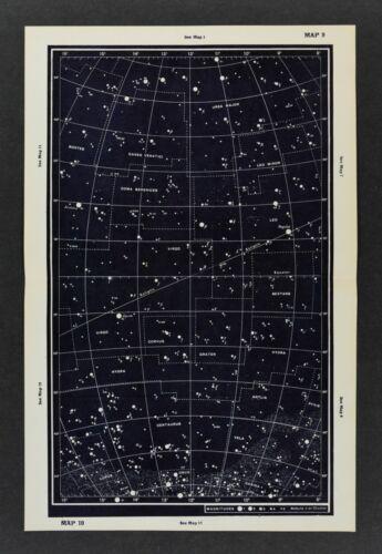 1961 Gall & Inglis Star Map Equator Ecliptic Ursa Major Leo Virgo Crater Corvus