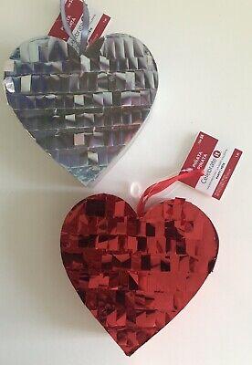 Lot x 2 Wedding Heart Pinata Metallic Mini Personal Red Silver Party Decor Favor - Wedding Pinatas