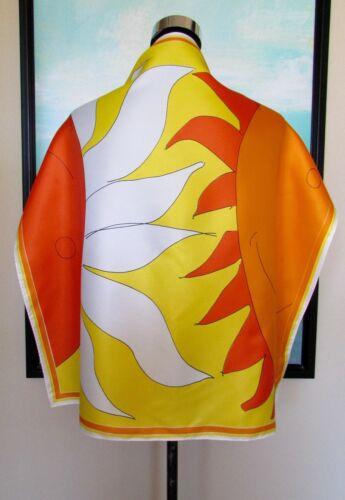 "VTG VERA NEUMANN  Orange/Yellow Mod Smile Sunshine SCARF 26"""