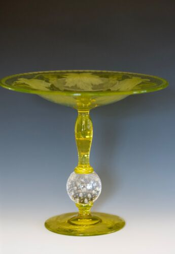 """Interesting Pairpoint compote - 7 1/4"""" tall - signed """"STEUBEN"""" and """"F. Carder"""""""