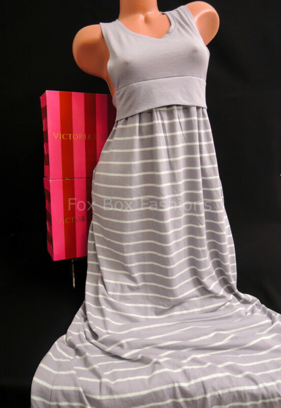 Extra Small XS - VICTORIA'S SECRET Cut Out Racerback Maxi Dress Gray Stripe SALE