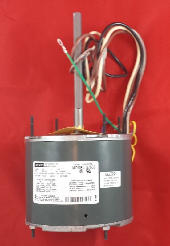 D7908 Fasco 1075 RPM AC Air Conditioner Condenser Fan Motor 1/3 HP + Capacitor