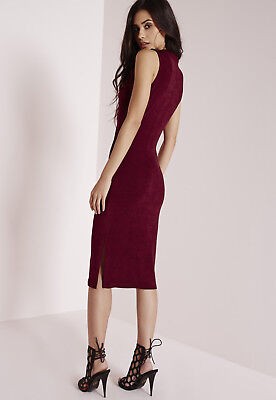 Missguided - Kleid - High Neck Knitted Midi Dress - Burgundy - Abend NEU Gr. 42  Neck Knitted Dress
