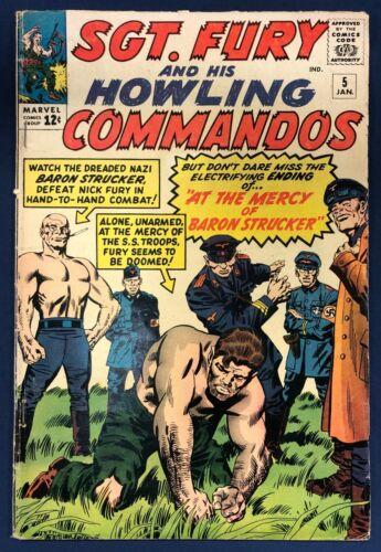 SGT FURY #5 : JAN 1964 : 1st BARON STRUCKER : HOWLING COMMANDOS : MARVEL : CCX