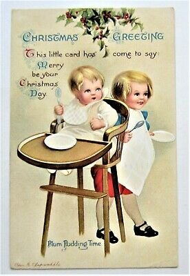 - A/S Clapsaddle CHILDREN  Plum Pudding Time CHRISTMAS Treat IAP Postcard